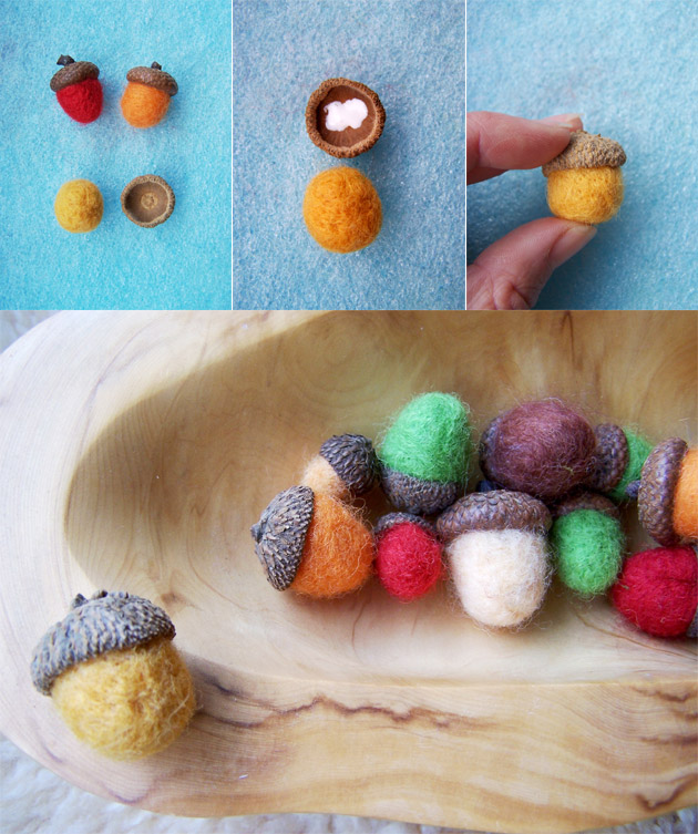 Crafts for Kids: Needle Felted Acorns