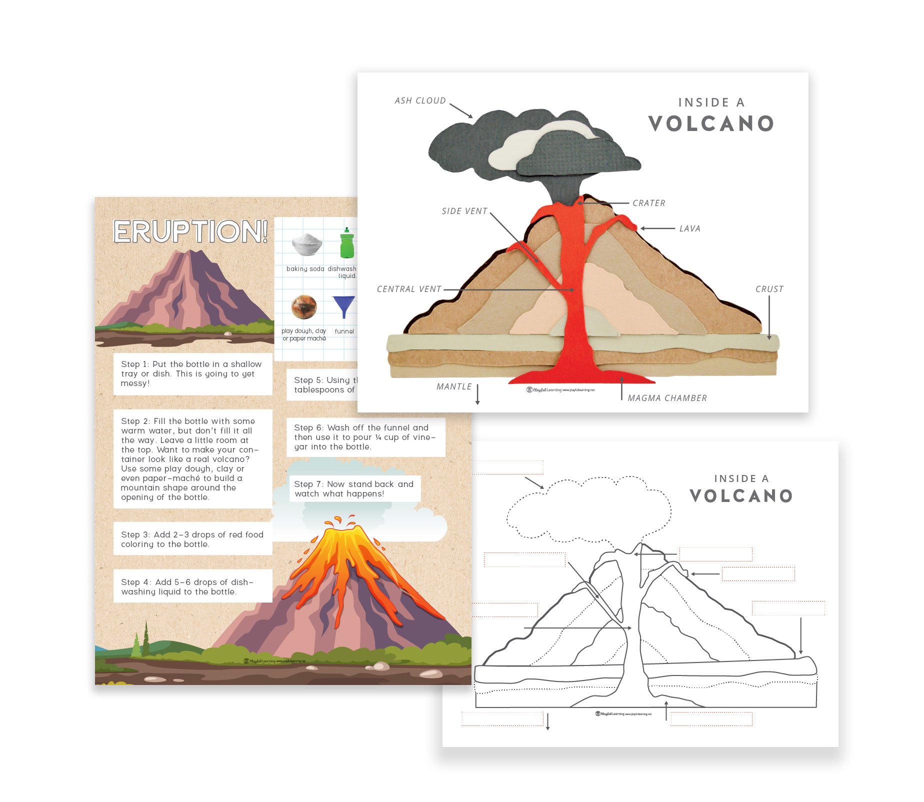 Volcano Playful Learning Volcanoes Diagram Ash Cloud Small Pieces Of Rock Minerals And Volcanic Glass That Are Discharged Into The Area During An Eruption Then Carried Further By Wind