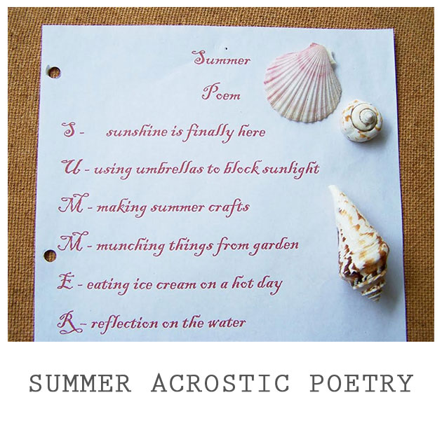 Summer Acrostic Poetry Playful Learning