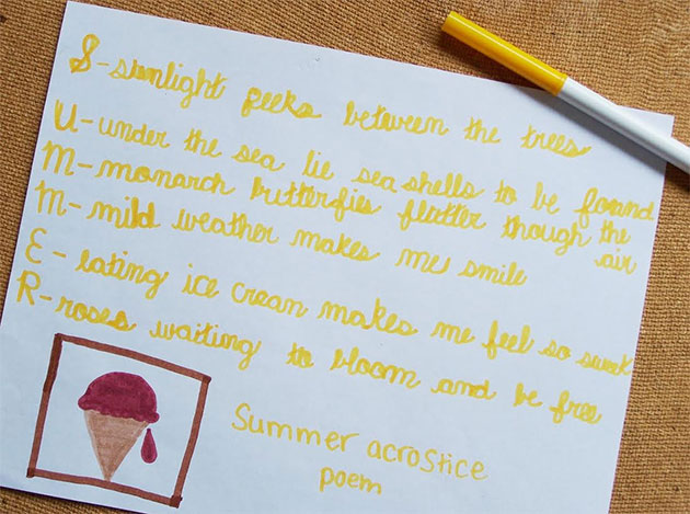 Summer Acrostic Poetry
